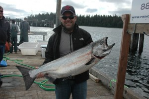 Paul Dent with his 28 pound king salmon, also caught on the outside of Noyes.